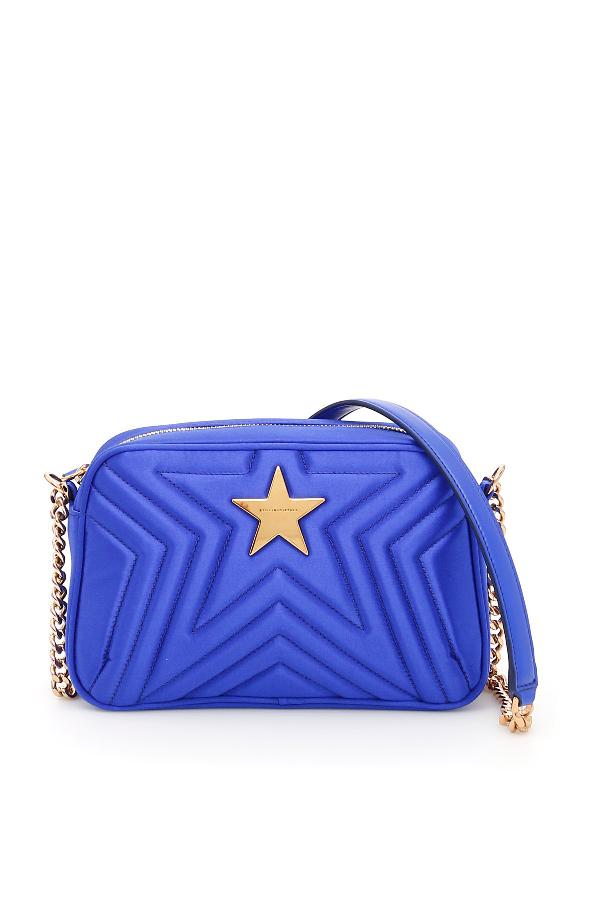 Stella Mccartney Quilted Satin Stella Star Bag In Blue