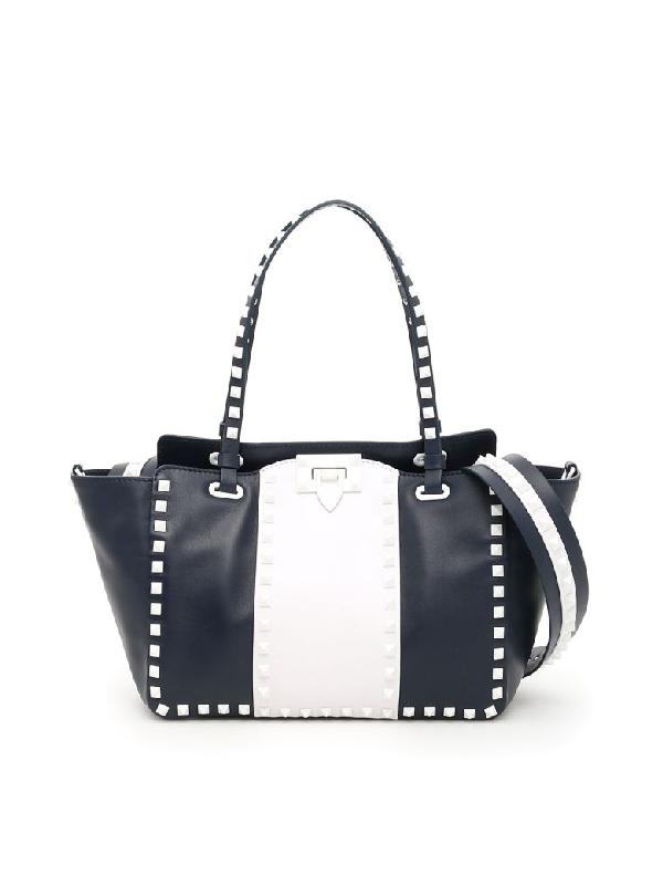 Valentino Garavani Free Rockstud Handbag In Marine Bianco Otticoblu