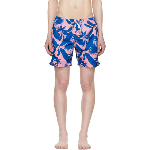 Bather Pink And Blue Tropical Palms Swim Shorts In Pink/green