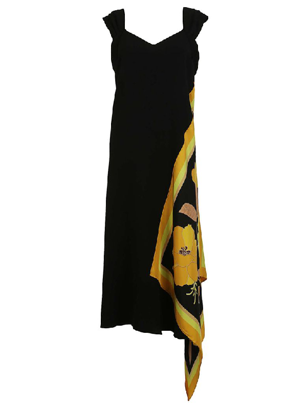 Dries Van Noten Draft Midi Dress In Black