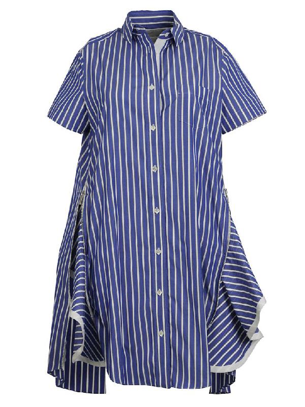 Sacai Popli Dress In Blue