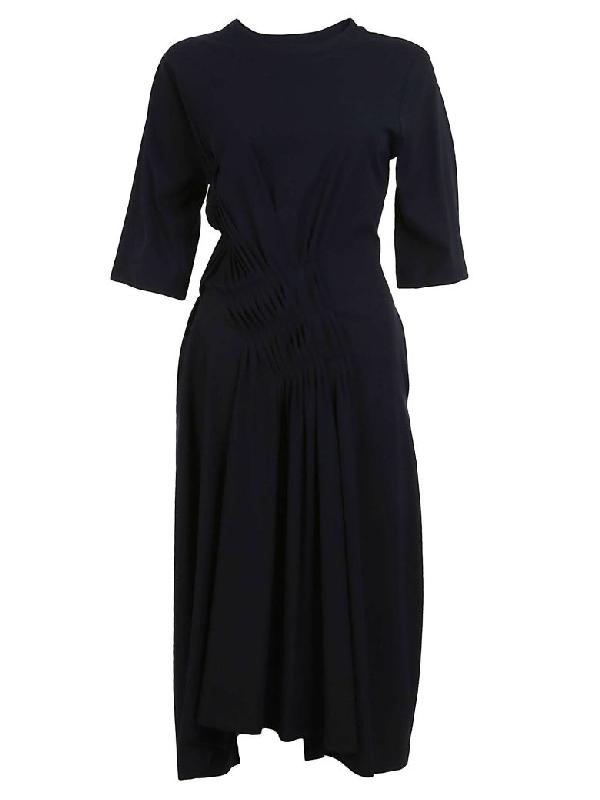 Jil Sander Pleated Detail Dress In Blue