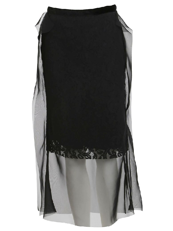 Sacai Lace Chiffon Skirt In Black