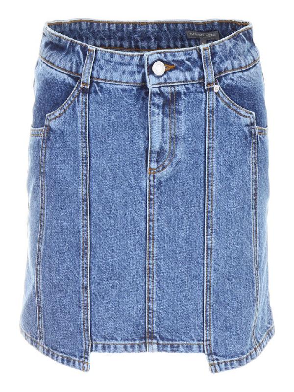 Alexander Mcqueen Denim Mini Skirt In Blueblu