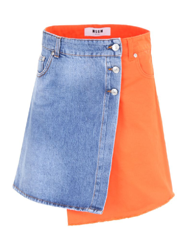 Msgm Denim Mini Skirt In Arancionearancio