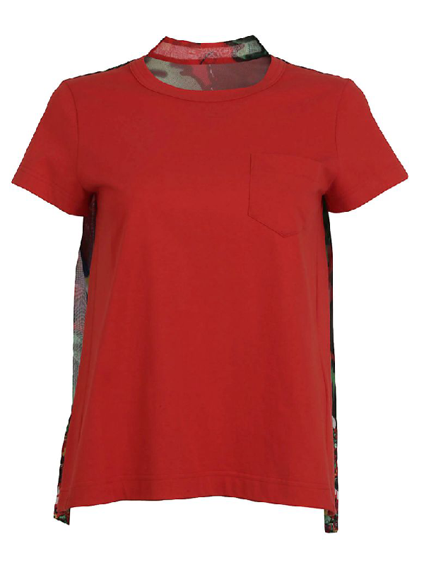 Sacai Flower Pleated Back T-shirt In Red
