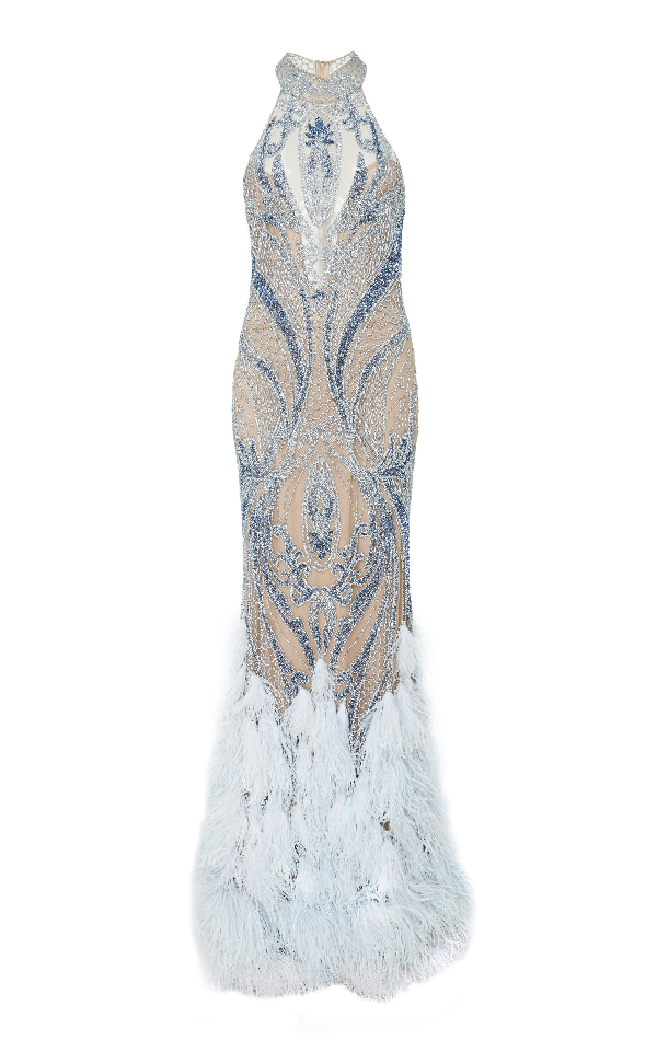 Patbo Beaded High Neck Feather Gown In Blue