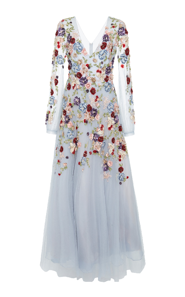 Patbo Beaded Tulle A Line Gown In Floral