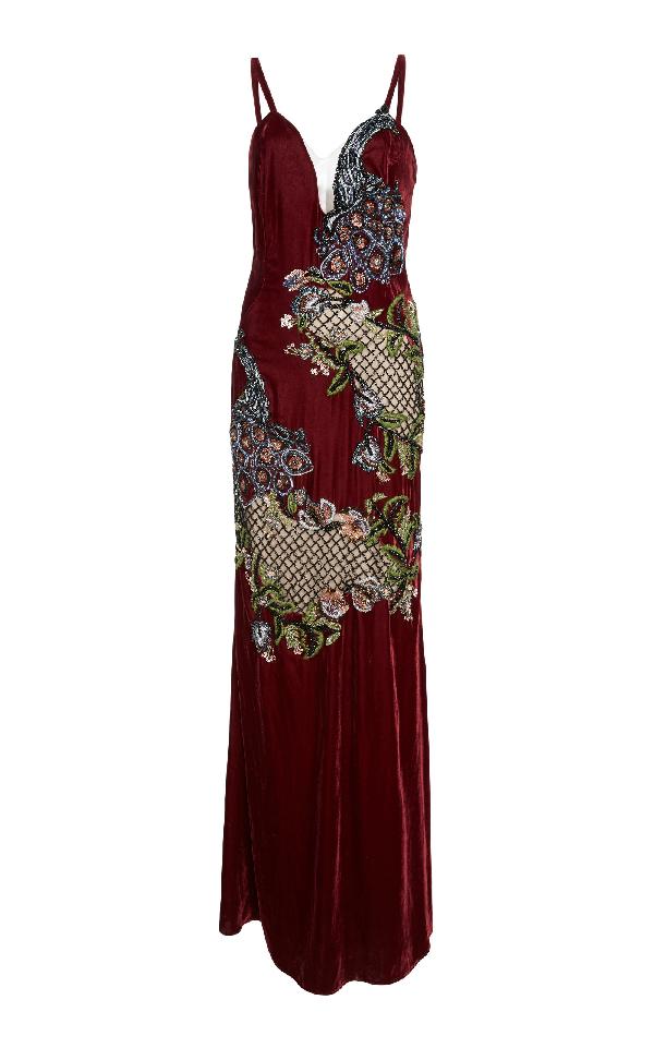 Patbo Velvet Beaded Peacock Gown In Burgundy