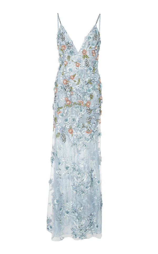 Patbo Lace 3d Embroidered Sleeveless Gown In Blue