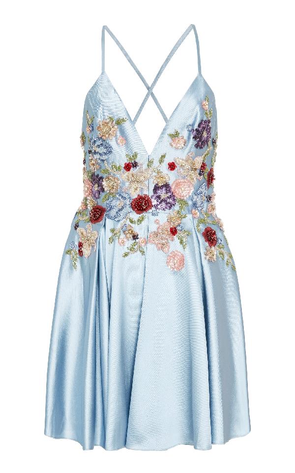 Patbo A Line Bouquet Beaded Mini Dress In Blue