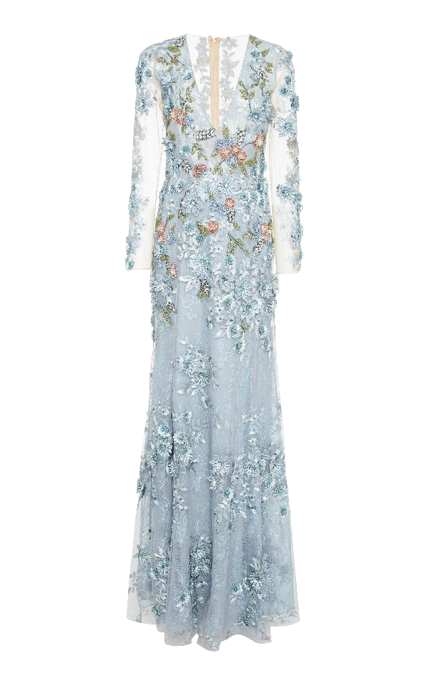 Patbo Lace 3d Embroidered Long Sleeve Gown In Blue