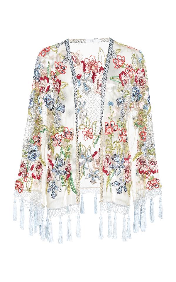 Patbo Floral Beaded Kimono Jacket