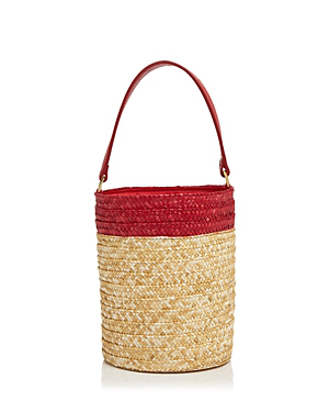 Caterina Bertini Small Straw Bucket Bag In Natural/red/gold