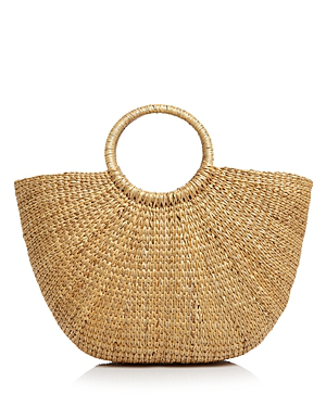 Remi & Reid Ring Handle Straw Tote In Natural