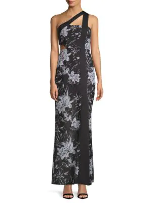 Bcbgmaxazria One Shoulder Floral Gown In Black Combo
