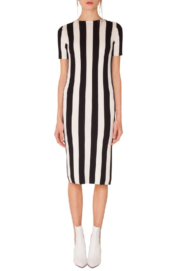 Akris Punto Kodak Stripe Knit Wool Midi Dress In Black-cream