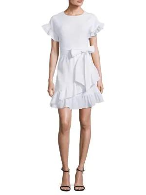 Michael Michael Kors Ruffle Wrap Dress In White