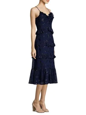 Michael Michael Kors Mid-length Ruffle Midi Dress In True Navy