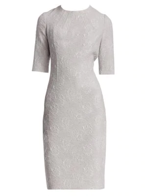 Teri Jon By Rickie Freeman Floral Jacquard Dress In Silver