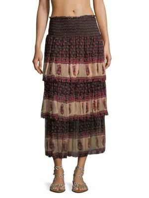 Zimmermann Jaya Tiered Skirt In Stamp