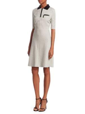 Piazza Sempione Grid-check Polo Dress In White Black