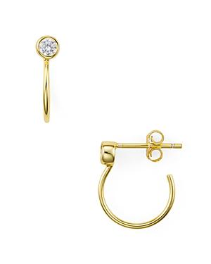 Aqua Pave Huggie Hoop Earrings In 18k Gold-plated Sterling Silver - 100% Exclusive