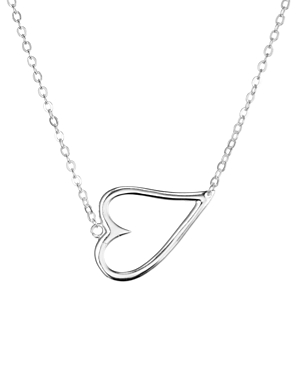Aqua Sideways Open Heart Pendant Necklace In 18k Gold-plated Sterling Silver Or Sterling Silver, 15 - 100