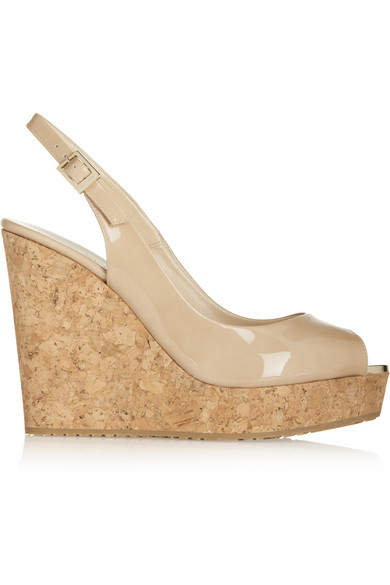 Jimmy Choo Prova Nude Patent Leather Sling Back Peep Toe Wedges In Neutral