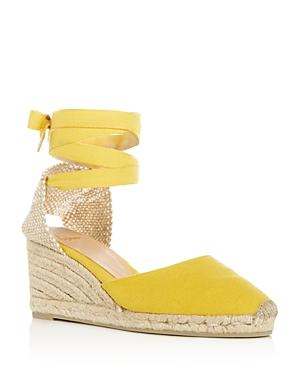 CastaÑer Women's Carina Ankle Tie Espadrille Wedge Sandals In Amarillo Yellow