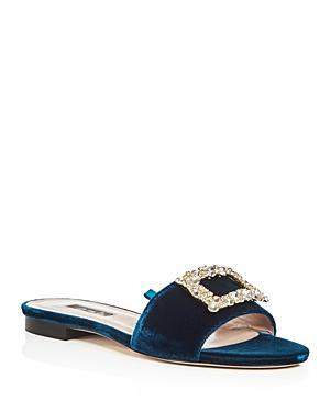 Sjp By Sarah Jessica Parker Grace Velvet Slide Sandals - 100% Exclusive In Belgravia Teal