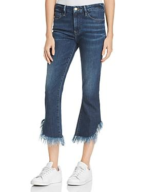 Frame Le Crop Frayed-hem Mini Bootcut Jeans In Bayberry In Blue