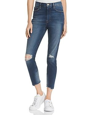 Frame Ali High-rise Distressed Cigarette Jeans In Morrisly