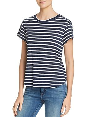 Frame Classic Striped Linen Tee In Summer Navy Multi