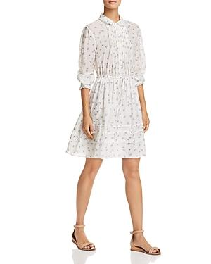 Rebecca Taylor Floral Sprig Shirtdress In Snow Combo