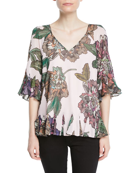 Badgley Mischka Floral Tie-back Flutter Top In Pink Multi