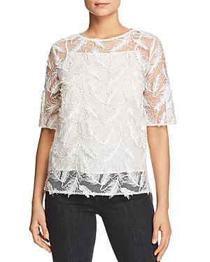 Badgley Mischka Sheer Embroidered Feather Top In White
