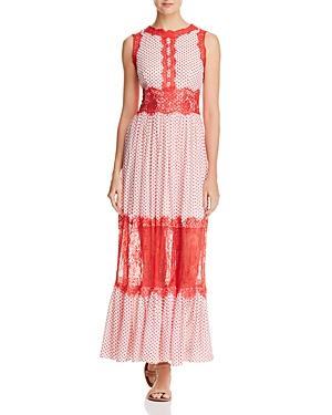 Aqua Lace Applique Polka Dot Maxi Dress - 100% Exclusive In Coral/white