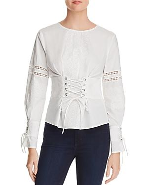 Aqua Embroidered Corset Detail Top - 100% Exclusive In White