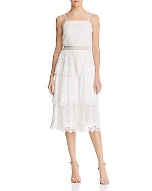 Aqua Lace-trim Tiered Midi Dress - 100% Exclusive In White