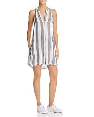 Bella Dahl Striped Button-front Dress In Blue White