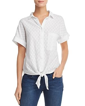 Bella Dahl Eyelet-stripe Shirt In White