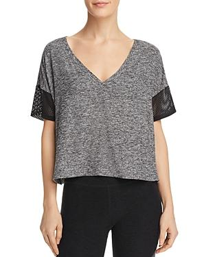 Beyond Yoga Mesh-inset Cropped Tee In Black-white
