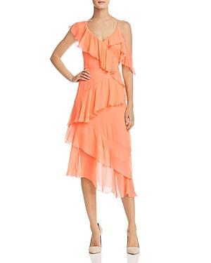 Alice And Olivia Alice + Olivia Olympia Asymmetric Ruffled Silk Dress In Peach