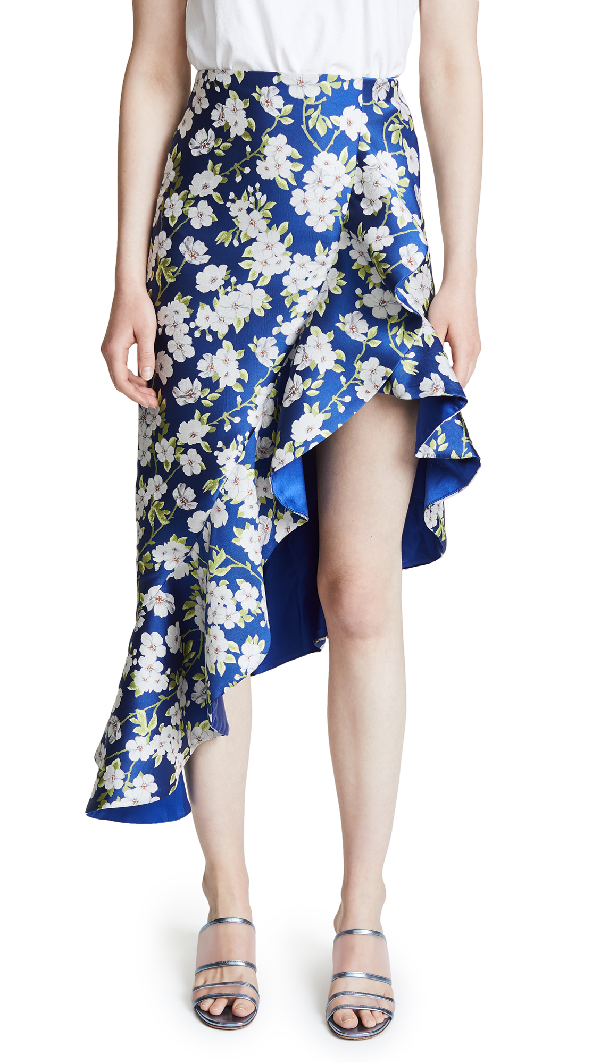 Alice And Olivia Alice + Olivia Lovetta Floral Asymmetric Ruffled Skirt In Indigo/white