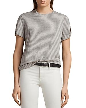 Allsaints Mazzy Slit-sleeve Striped Tee In Pink/gray Marl
