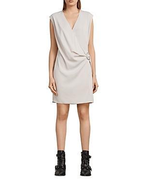 Allsaints Callie Faux-wrap Dress In Pale Pink