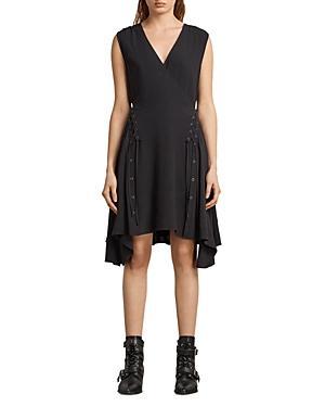Allsaints Miller Lace-up Dress In Black