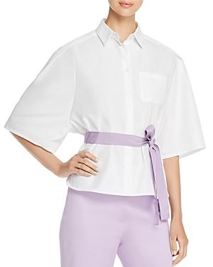 Weekend Max Mara Cerchio Belted Button-down Shirt In White