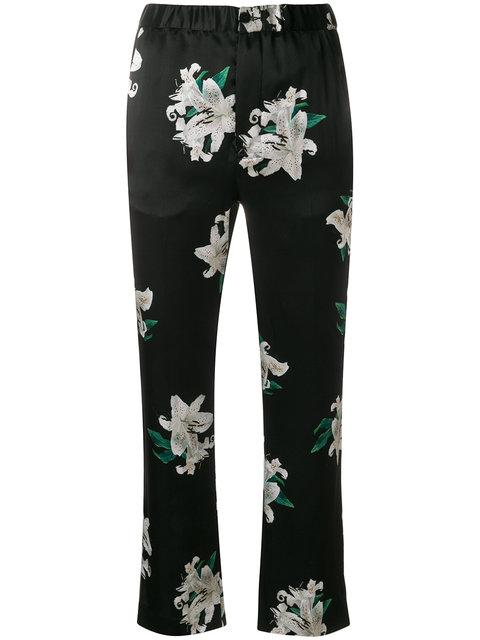 Dondup Cropped Floral Print Trousers In Black